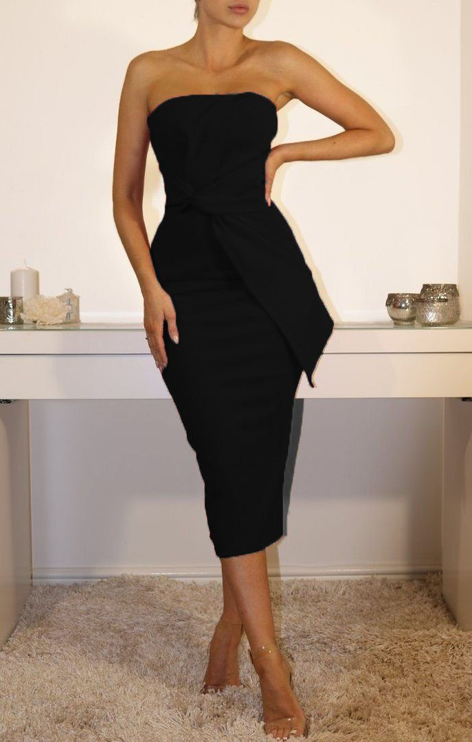 Black Cross Front Bandeau Midi Dress