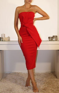 Red Cross Front Bandeau Midi Dress