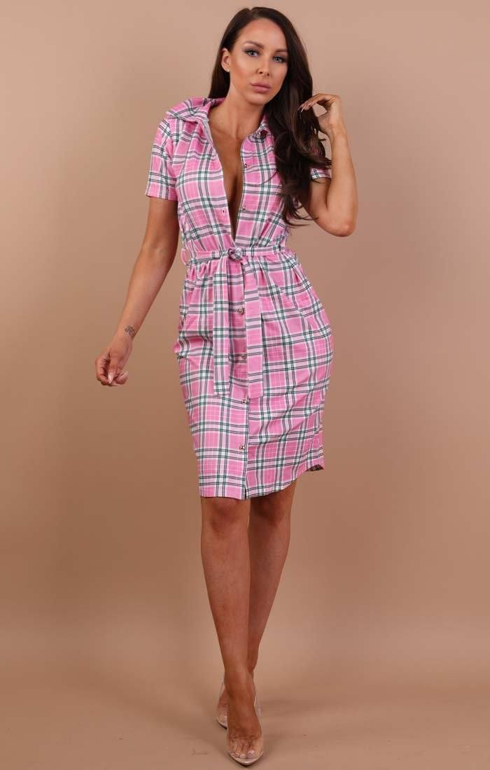 Pink Check Print Belted Shirt Dress - Saphire