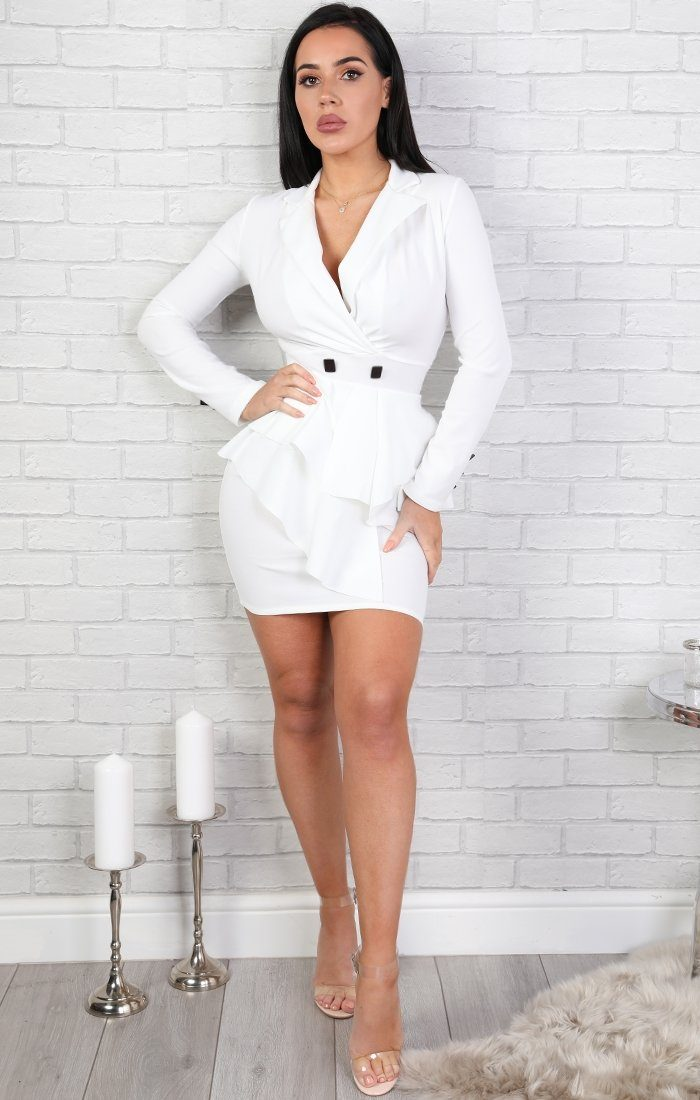 White-Frill-Front-Blazer-Dress