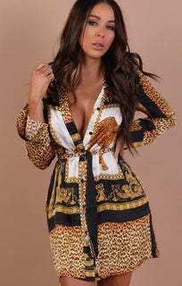 Gold Animal Leopard Print Shirt Dress – Shelby