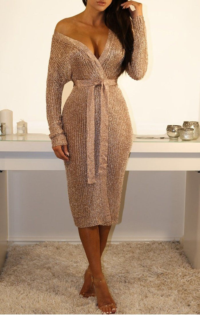 Metallic Knit Rose Gold Tie Waist Wrap Midi Dress