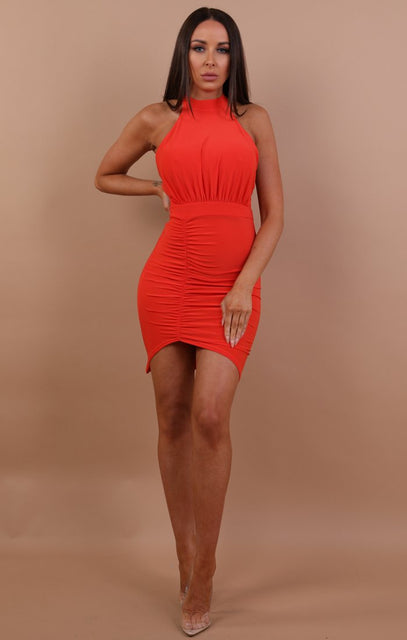 Orange Ruched Lace Up Bodycon Dress - Mia