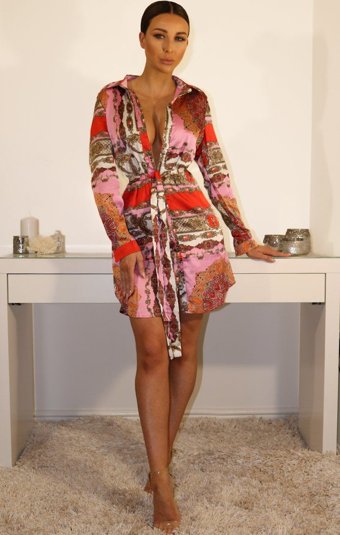 Pink Scarf Print Tie Shirt Dress
