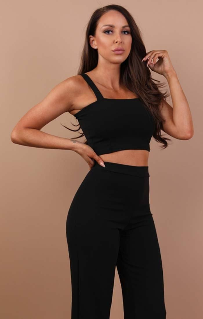 Black Crop Top And Trousers Co-ord Set