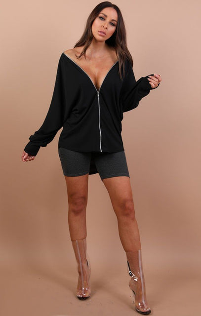 Black Over Sized Zip Up Top - Carolyn