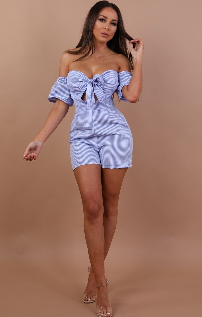 Blue Check Bardot Playsuit - Gianna
