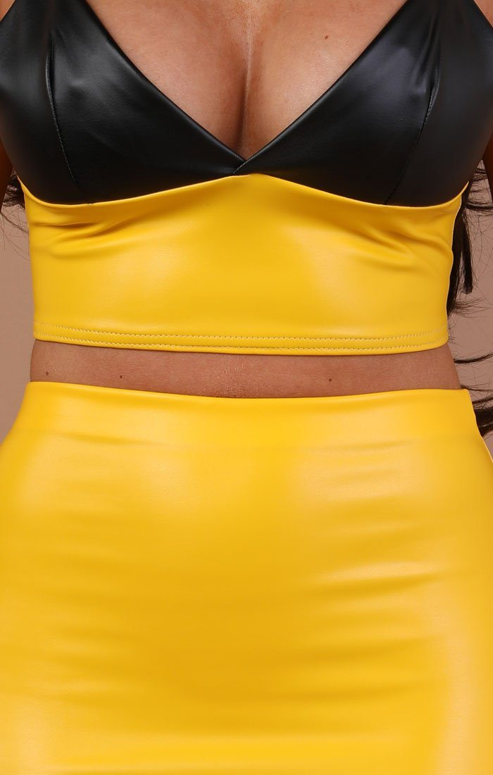 Yellow Pu Bodycon Mini High Waist Skirt - Jamie