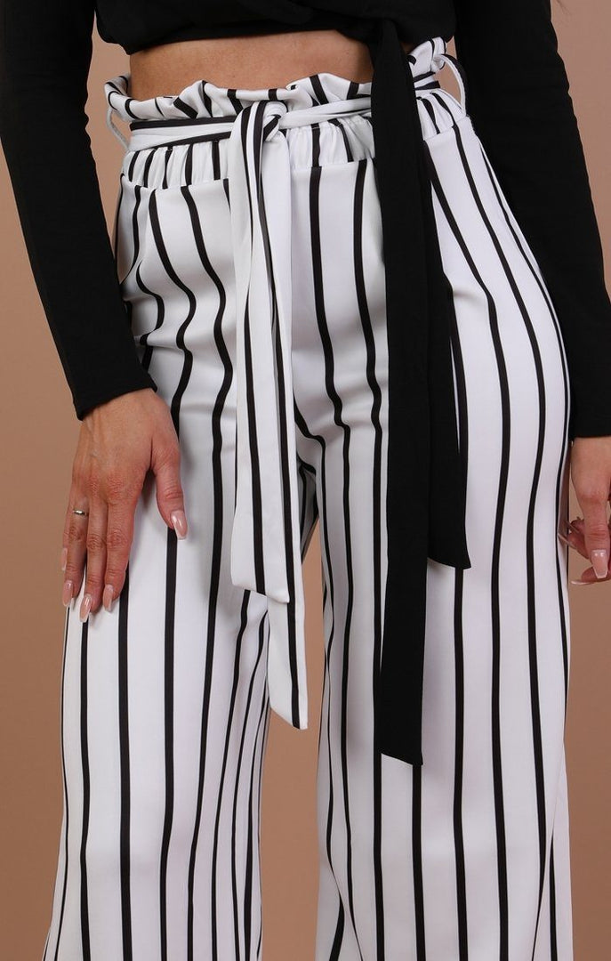 White Striped Paper Bag Wide Leg Trousers- Emma