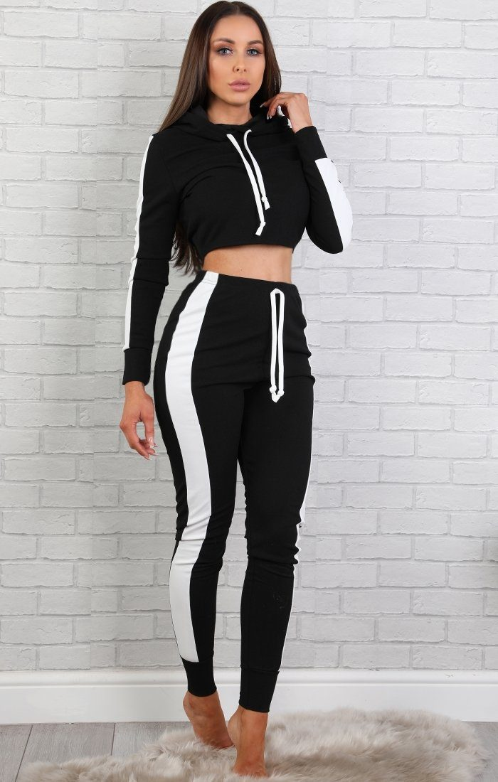 907e46efdc9f6 Black With White Stripe Lounge Wear Set - Lexi