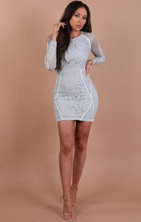Pastel Blue Mesh Lace Bodycon Dress – Annabelle