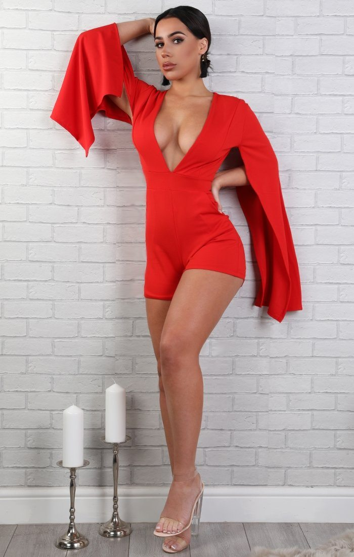 Red Open Sleeve Playsuit - Bronte