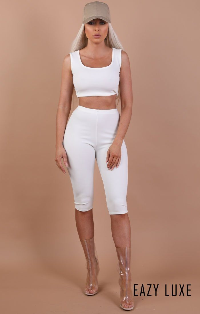 White Thick Strap Basic Crop Top