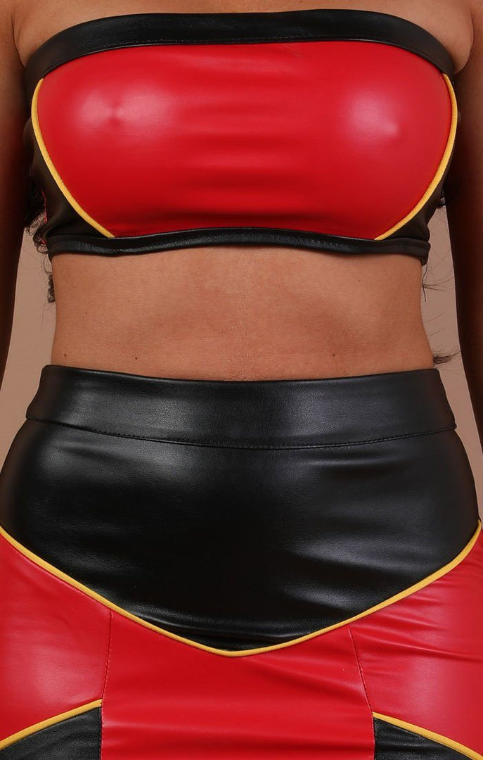 Red Contrast Faux Leather Two Piece Co-ord Set - Anya