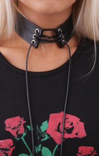 Black Faux Leather Lace Up Choker