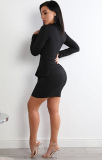 Black-Frill-Front-Blazer-Dress