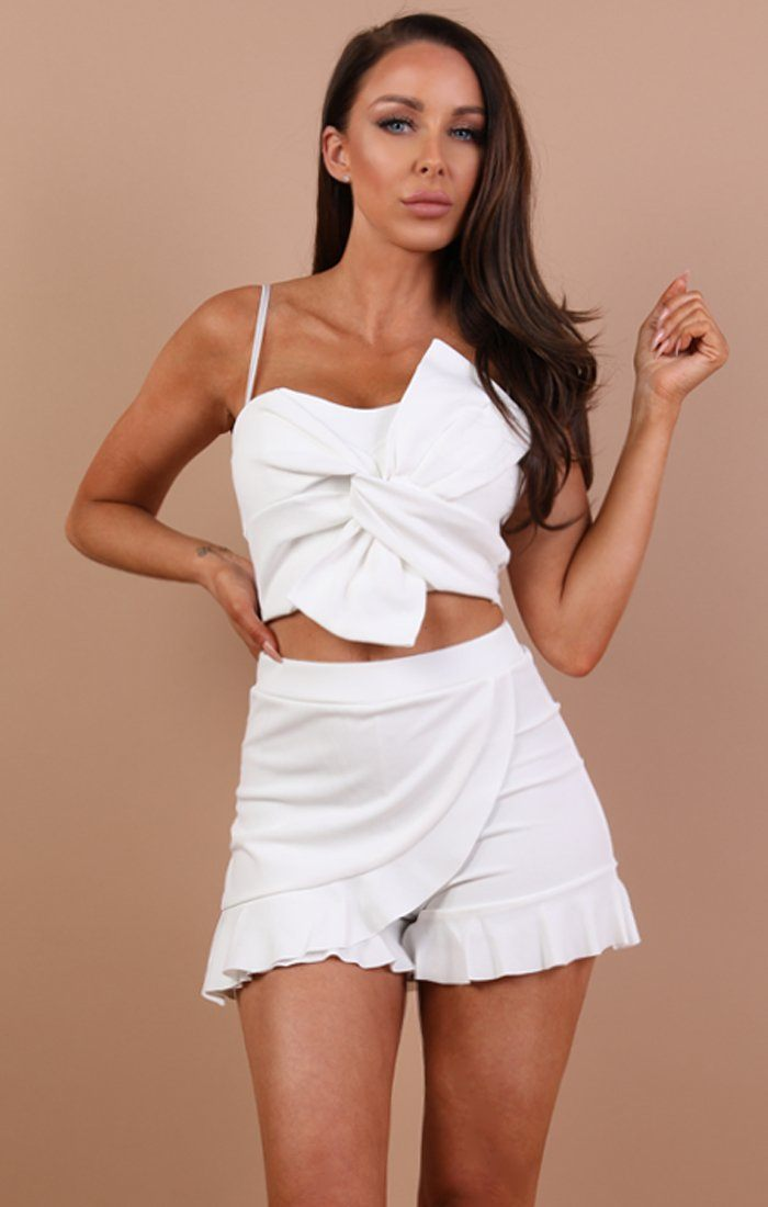 White Twisted Front Crop Top - Amery