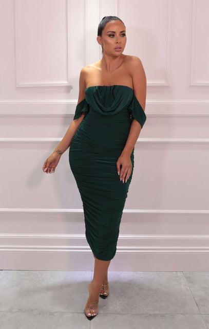 Emerald Bardot Cowl Neck Ruched Midi Dress - Malia