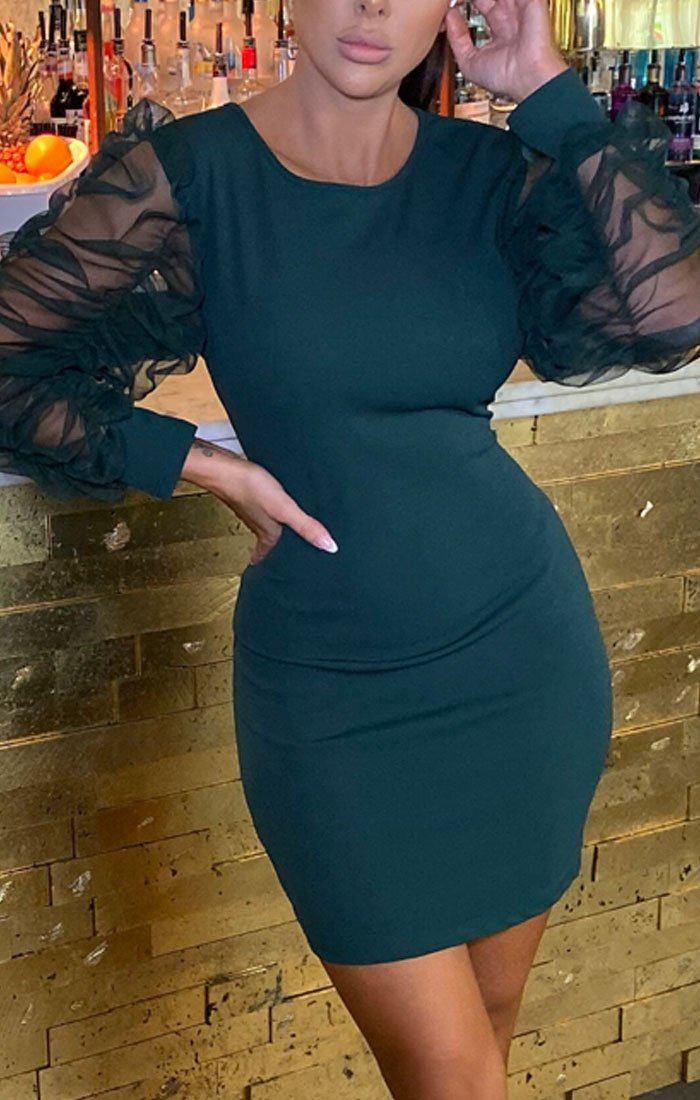 Emerald Mesh Ruffle Long Sleeve Bodycon Mini Dress - Esmerelda