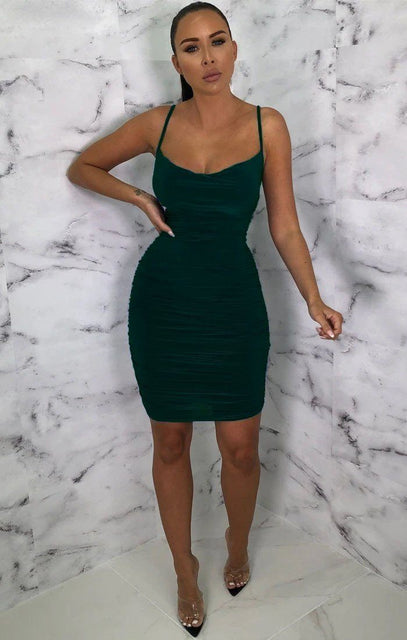 Emerald Ruched Cowl Neck Bodycon Mini Dress - Sofie
