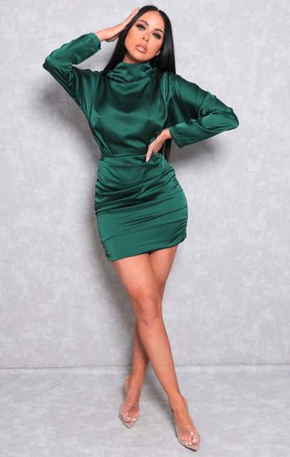 Emerald Satin Draped Mini Dress - Tatiana