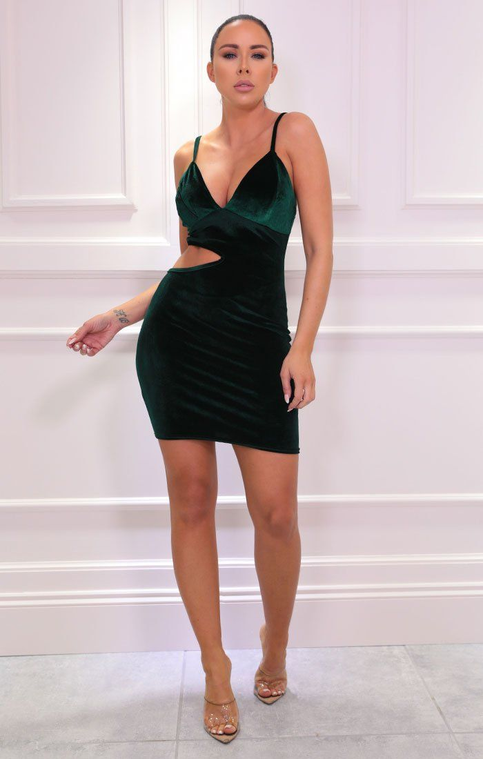 Emerald Strappy Cut Out Side Bodycon Mini Dress - Chrissy