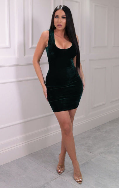 Emerald Velvet Sleeveless Bodycon Mini Dress - Ryan