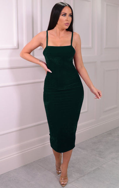Emerald Velvet Strappy Square Neck Bodycon Midaxi Dress - Sara