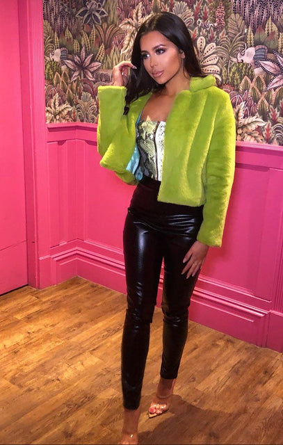 Lime Faux Fur Crop Jacket - Sasha