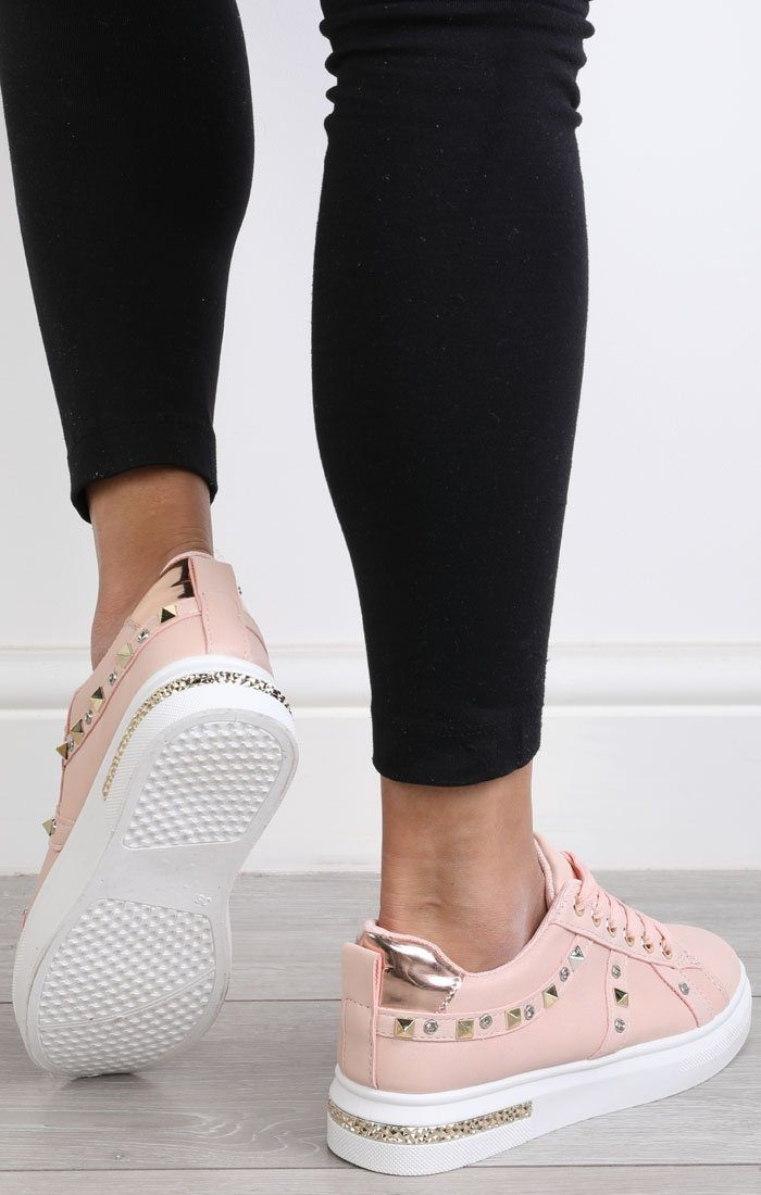Nude Studded Diamante Trainers - Charlotte
