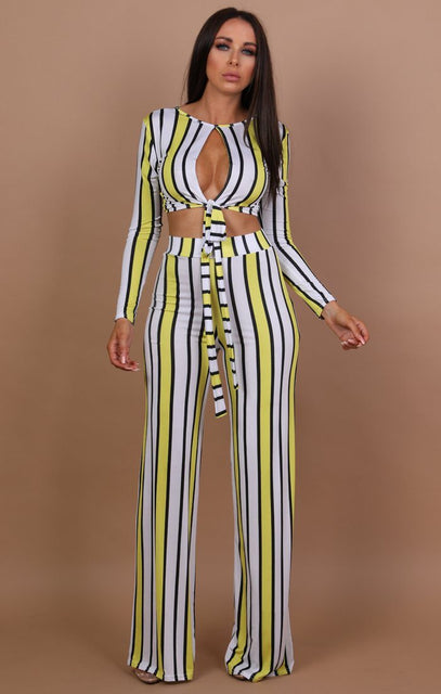 Yellow And White Stripe Two Piece Co-ord Set - Felicity