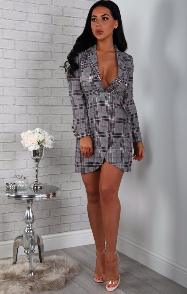 Grey and Red Tartan Blazer Dress