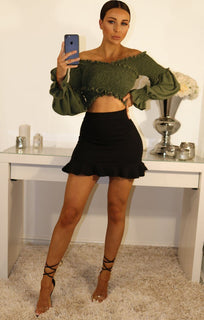 Khaki Bardot Ruched Sleeve Crop Top