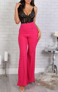 Pink High Waist Flare Trousers - Holly