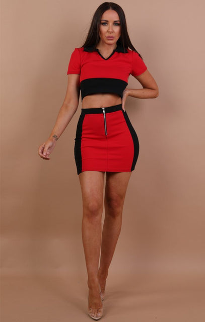 Red Contrast Co-ord Set - Martina