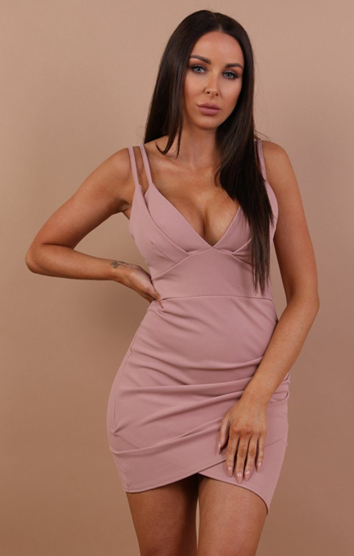 Nude Double Strap Bodycon Dress - Adrianna