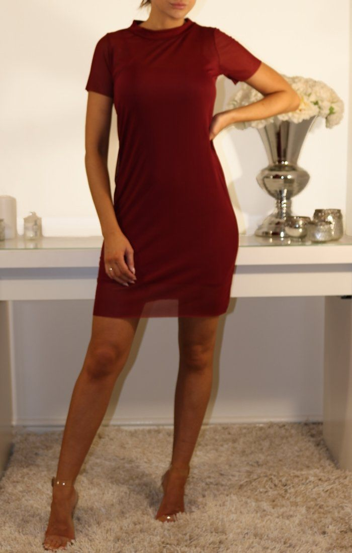 Wine Mesh Overlay T-shirt Dress
