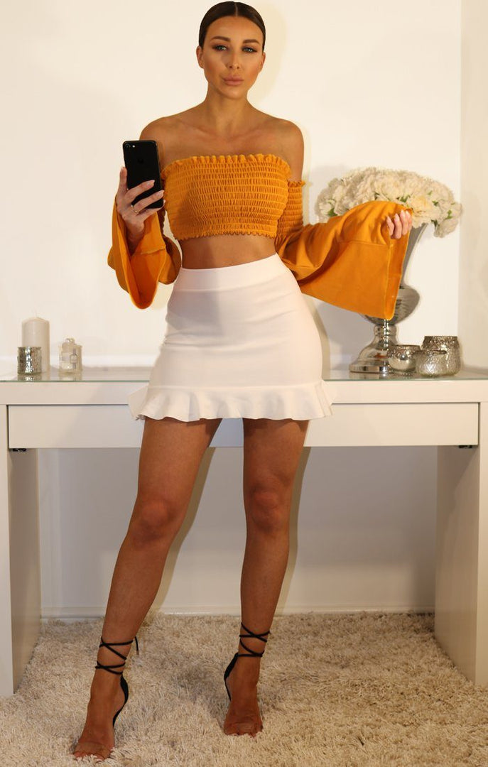 Mustard Bardot Bell Sleeve Crop Top