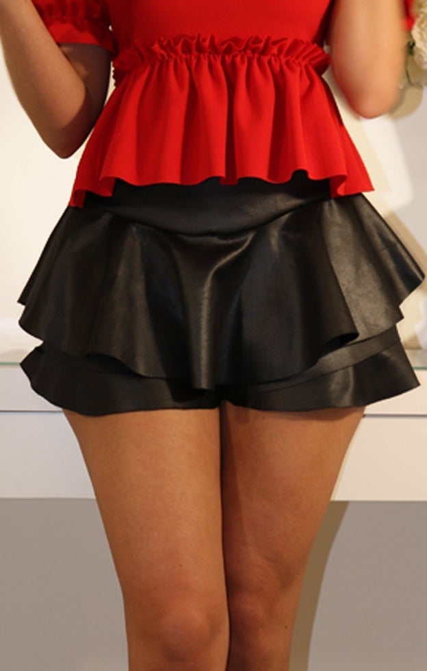 FAUX LEATHER LAYERED FRILL MINI SKIRT SHORTS