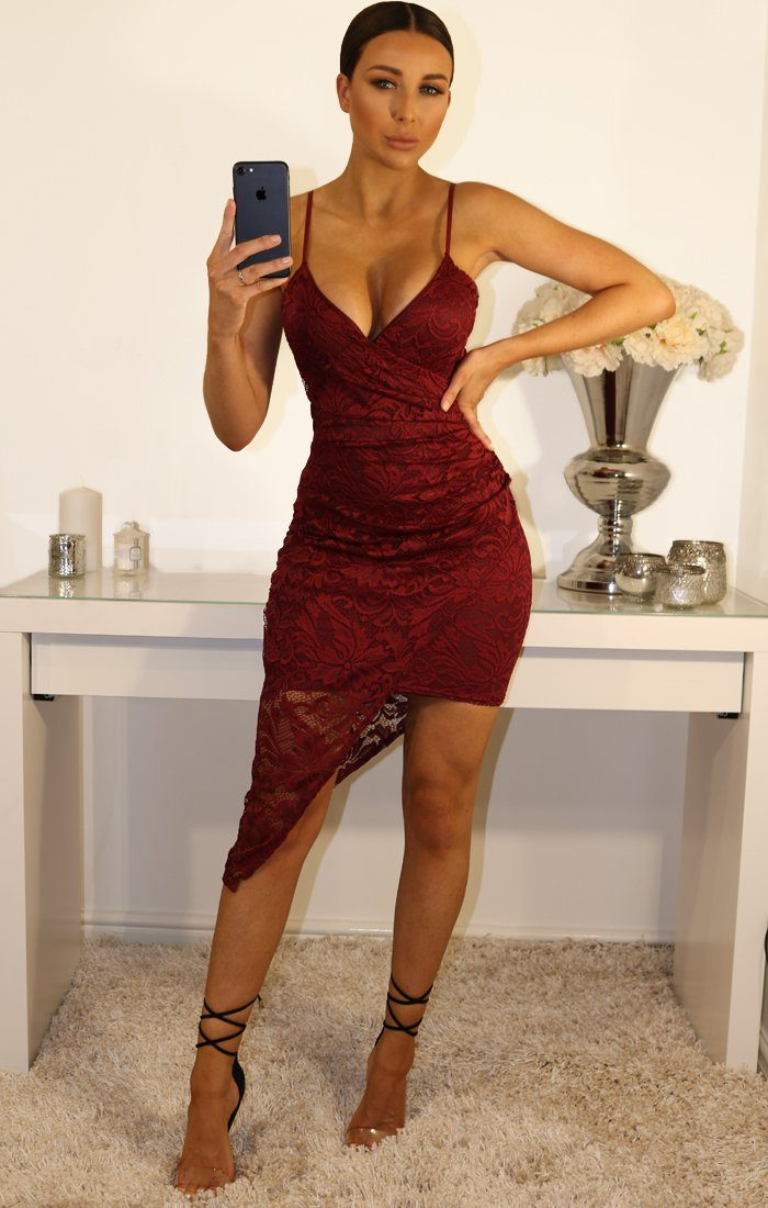 Wine Lace Cami Wrap Front Mini Dress