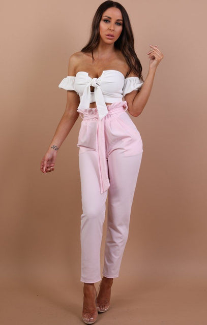 Pink Paper Bag Slim Fit Trousers - Laurie