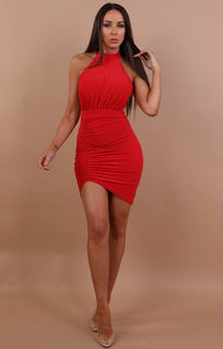 Red Ruched Lace Up Bodycon Dress - Mia