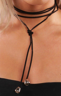 Black Suede Gold Bell Choker
