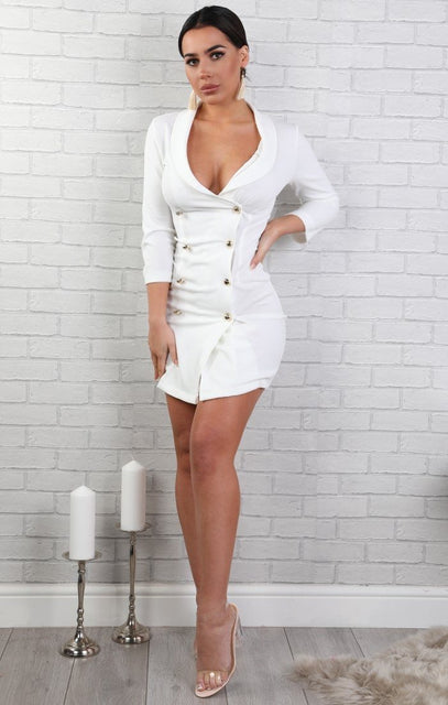 Cream Cropped Sleeve Blazer Dress - Demi