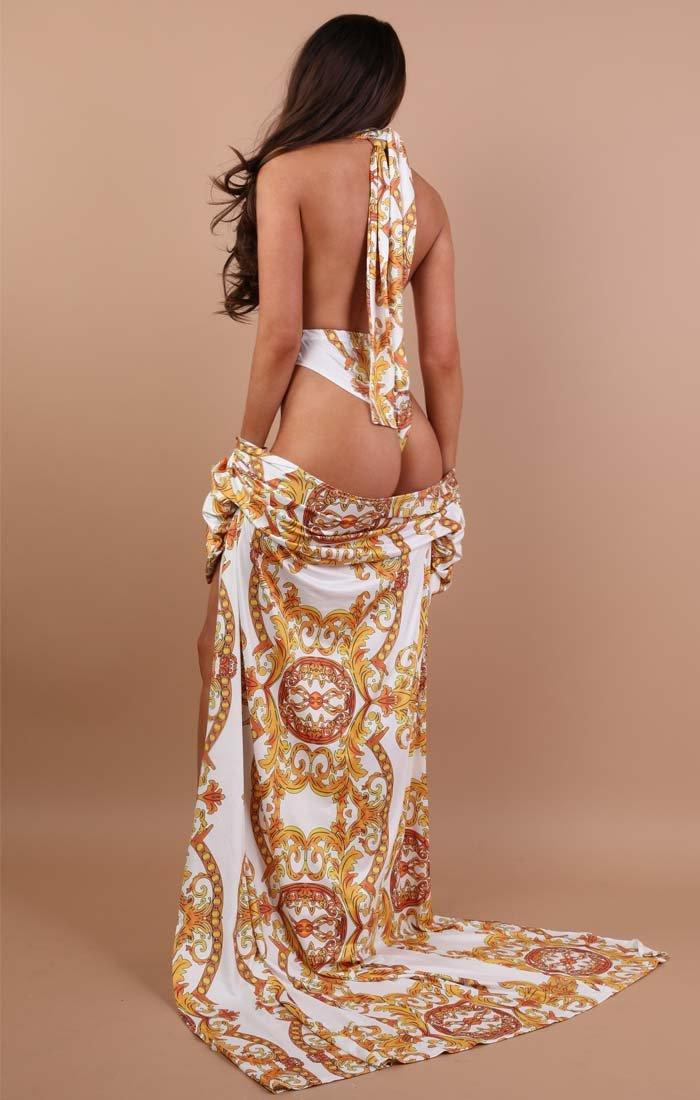 White Scarf Print Swimwear Set - Freya
