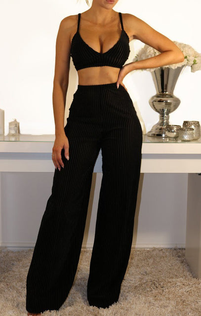Black Velvet Striped Two Piece Co-ord Set