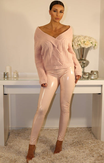 Pink Plated Cable Knit Jumper