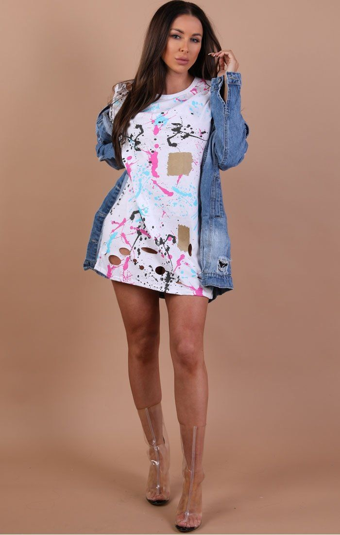 White Distressed Abstract Print T-shirt Dress – Cassie