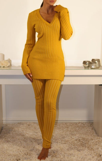 Mustard Ribbed Knitted Loungewear Set
