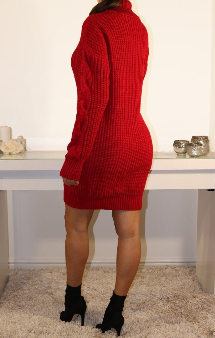 Red Roll Neck Knitted Jumper Dress